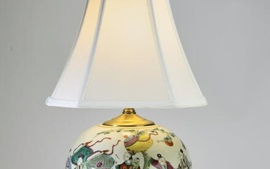 Chinese porcelain vase lamp with Quan Yin