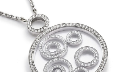 """Chopard: A diamond necklace """"Happy Spirit"""" set with numerous brilliant-cut diamonds, mounted in 18k white gold. Signed Chopard. L. app. 44.0 and 5.5 cm."""