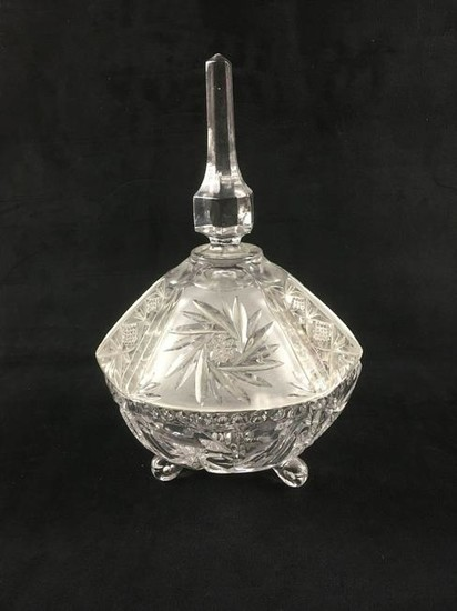 Clear Crystal Glass Footed Serving Bowl
