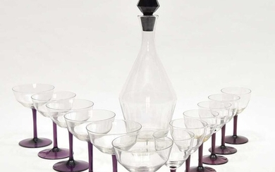 Clear glass part drinking service comprising 1 carafe,...