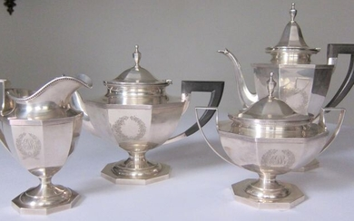 Coffee and tea service (4) - .925 silver - Durgin - U.S. - Early 20th century