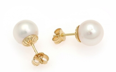 NOT SOLD. A pair of pearl ear studs each set with a cultured pearl, mounted...