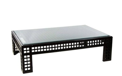 Contemporary Glass Inset Lattice Form Coffee Table