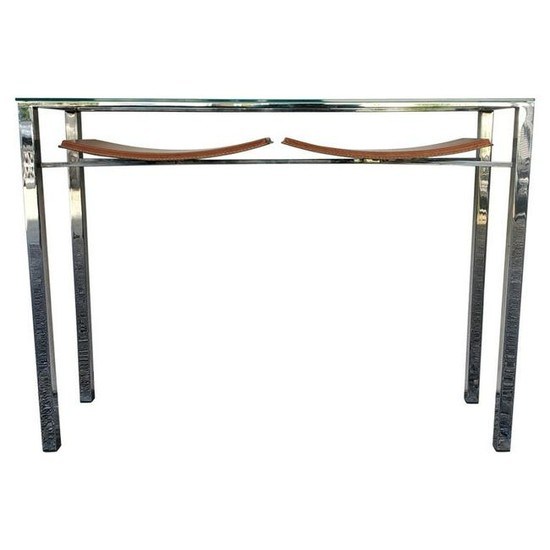 Contemporary Modern Hermes Inspired Leather Console