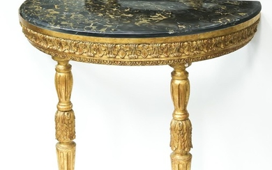 Continental Neoclassical Demilune Giltwood Marble Top Console Table, c.1790 FD1A