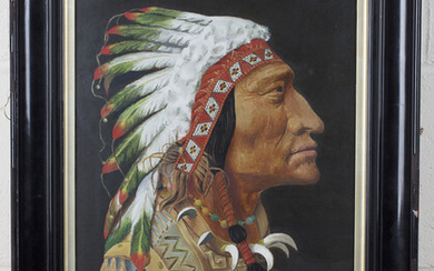 Continental School - Head Study of a Native American Chief, late 19th/early20th century oil on board