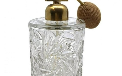 Crystal Cut Glass Perfume Bottle with Atomizer-2