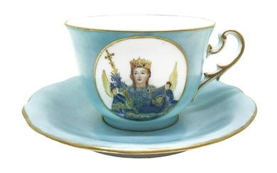 Cup with saucer, hand painted with Saint Agatha, early