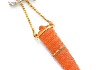 DIAMOND AND GOLD NECKLACE WITH ANTIQUE CORAL PENDANT.