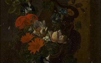 Danish School, early 19th century- Flowers in an urn with...