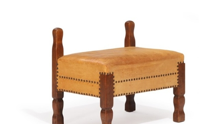Danish cabinetmaker: Stool with oak legs, upholstered with patinated brown leather fitted with brass nails.