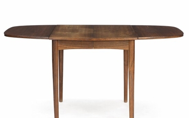 NOT SOLD. Danish furniture design: Dining table of rosewood with two flip up leaves and...