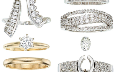Diamond, Platinum, Gold Rings The jewelry lot includes seven...