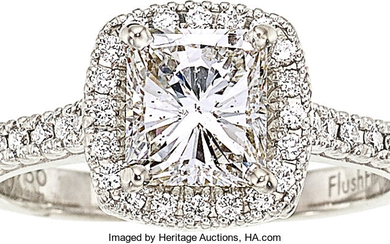 Diamond, White Gold Ring The ring features a square...