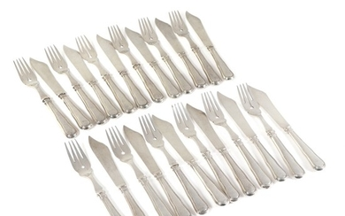 """Dobbeltriflet"" silver fish cutlery comprising 12 forks and 12 knives. A. Dragsted, 1925. Weight 1243 g. (24)"