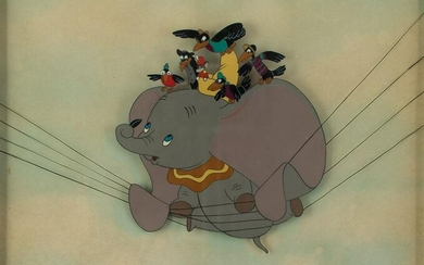 Dumbo, Timothy Q. Mouse, and Crows production cel from