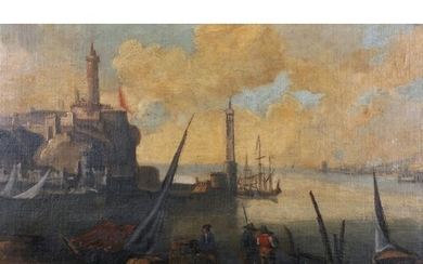 Early 18th Century Dutch School. A Harbour Scene with Figure...