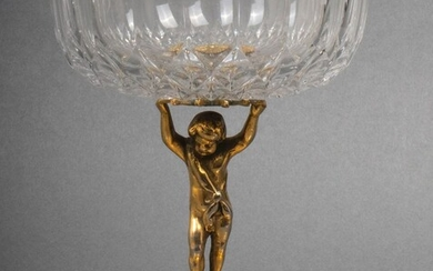 Empire Style VSL Crystal & Gilt Cherub Tazza