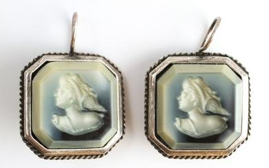 Extasia Intaglio Cameos & Silver-Tone Earrings, Pr