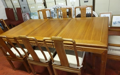 Extending quality dining table with inlaid border on each le...