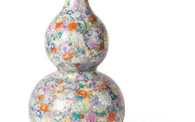 FAMILLE ROSE 'MILLEFLEUR' DOUBLE GOURD VASE QING DYNASTY, 18TH-19TH CENTURY