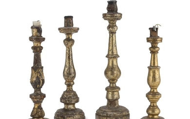 FOUR CANDLESTICKS IN GILTWOOD 18th CENTURY