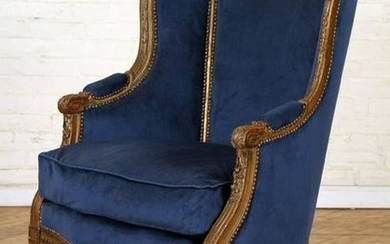 FRENCH CARVED GILT WOOD BERGERE CHAIR C.1900
