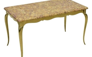 FRENCH MARBLE-TOP BRASS COFFEE TABLE