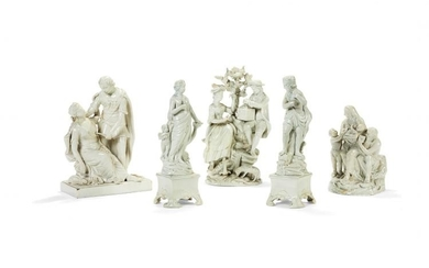 Five various Staffordshire pearlware figures and groups of Wood Family type, circa 1790