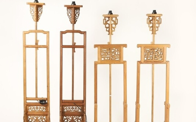 Four Chinese Softwood Lantern Stands, Electrified FR3SHLM
