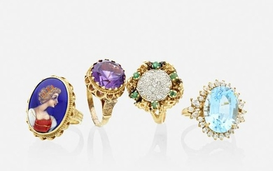 Four gem-set gold cocktail rings
