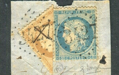 France 1871 - Rare fragment of a letter with the No. 36 cut in half, signed Calves.