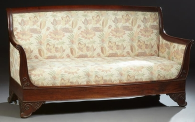 French Empire Style Carved Mahogany Settee, 19th c.