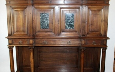 French walnut bookcase cabinet with marble plaques