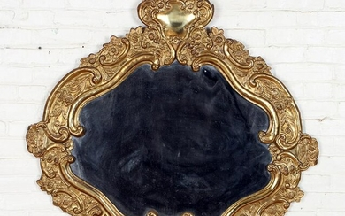 GILT METAL REPOUSSE MIRROR C. 1900