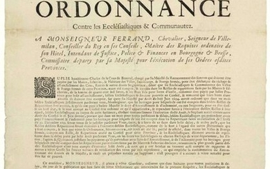 """GOLDEN COAST. 1695. BURGUNDY & BRESSE. - Order of Monsignor FERRAND Intendant in Burgundy & Bresse, """"against the Ecclesiastics & Communities. Having regard to the request of Charles de LA COUR DE BAUVAL, charged by His Majesty with the recovery of..."""
