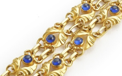 Georg Jensen: A sapphire necklace set with numerous synthetic cabochon sapphires, mounted in 18k gold. Design no. 249. L. app. 37.5 cm. 1933–44.