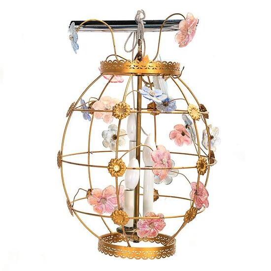Globe Form Chandelier with Glass Flowers.