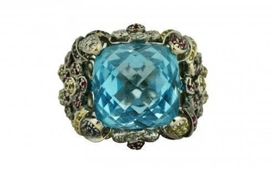 Gold, Blue Topaz, Colored Stone and Diamond Ring