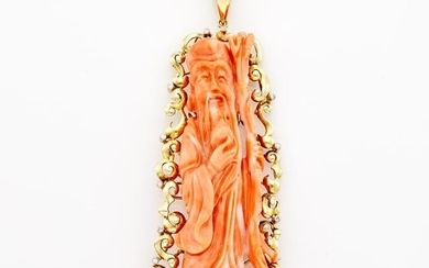 Gold, Carved Coral and Diamond Pendant