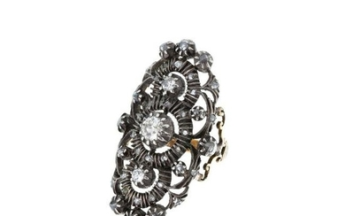 Gold and silver ring with diamonds