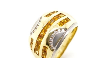 Golden sapphire, diamond and 14ct yellow gold ring marked 14...