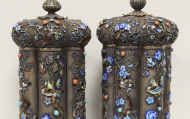 Good pair of early 20th century Chinese silver gilt and poly...
