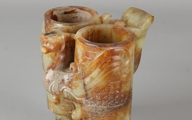 Great ancient Chinese jade carved double cup with grip
