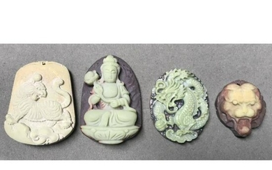 Group of Asian Carved Stone Pendants