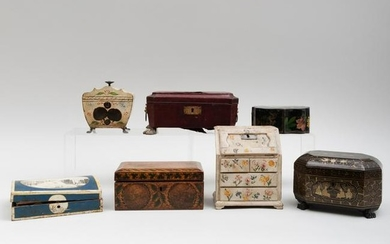 Group of Six English and Continental Table Boxes and a