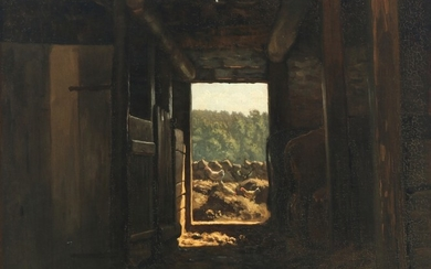I. H. Brandt: Cows and hens at a stable door. Signed and dated I. H. Brandt, 1886. Oil on canvas. 45×55 cm.