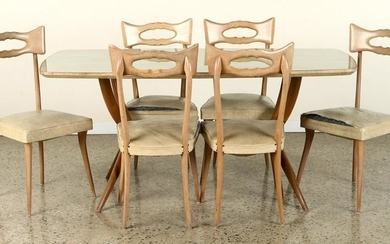 ITALIAN DINING TABLE AND SIX CHAIRS C.1950