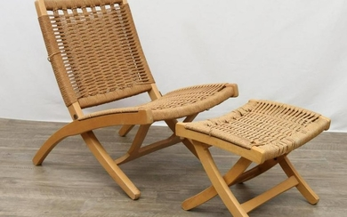 In the Manner of Hans Wegner Rope Chair & Ottoman
