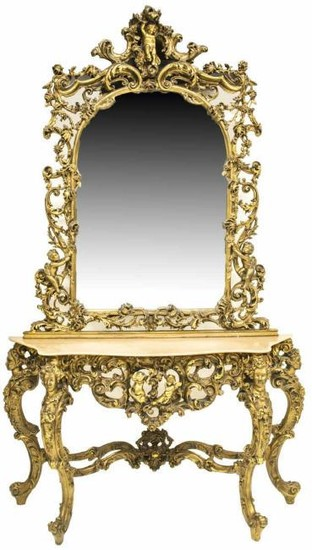 Italian Intricately Carved Giltwood Console Table